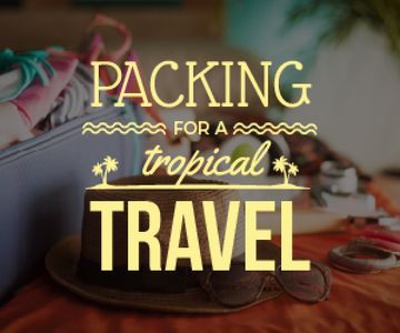 Packing for a tropical travel poster