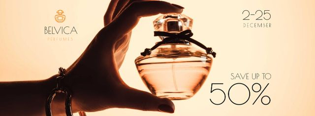 Template di design Sale Offer with Woman Holding Perfume Bottle Facebook cover