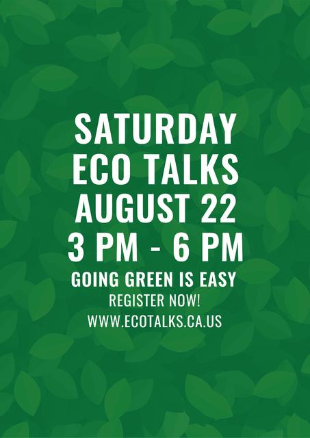 Ontwerpsjabloon van Poster van Ecological Event Announcement Green Leaves Texture