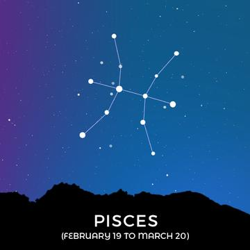 Night sky with Pisces constellation