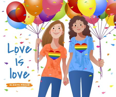Women holding hands on Pride Month Facebook Modelo de Design
