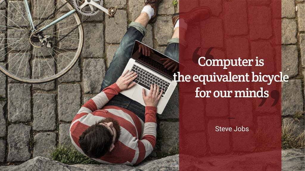Motivational quote with young man using laptop — Crea un design