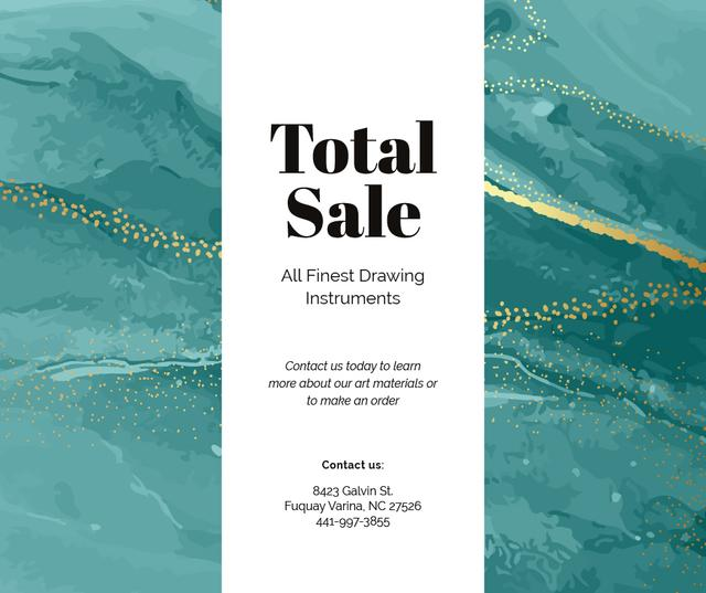 Art Supplies Sale on painting background Facebook Modelo de Design