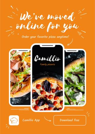 Modèle de visuel Online Pizza App Offer - Poster
