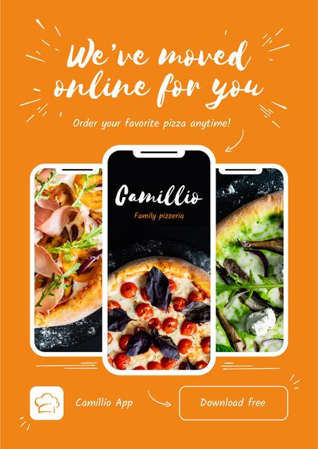 Online Pizza App Offer Poster Modelo de Design