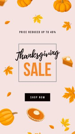 Modèle de visuel Thanksgiving Sale with pumpkin pie - Instagram Story