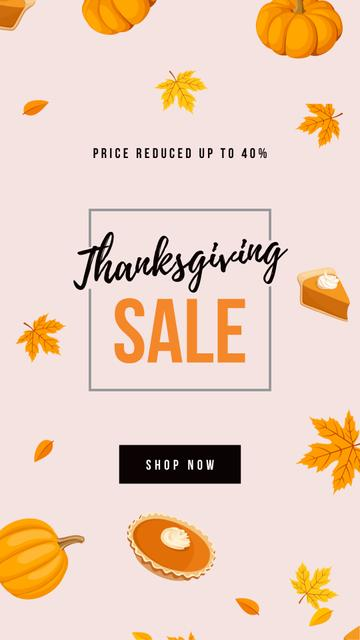 Plantilla de diseño de Thanksgiving Sale with pumpkin pie Instagram Story