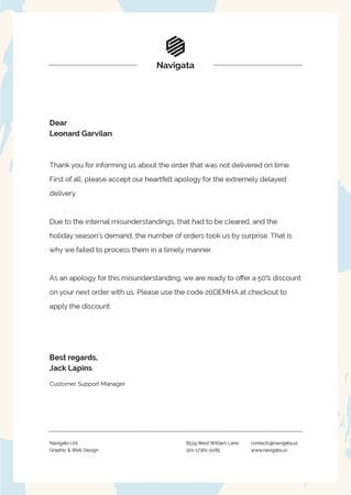 Template di design Customers Support official apology Letterhead