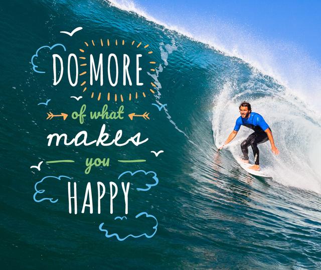 Man riding surfboard Facebook Design Template