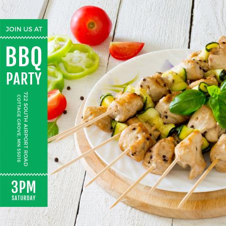 BBQ Party Grilled Chicken on Skewers Instagram AD Modelo de Design