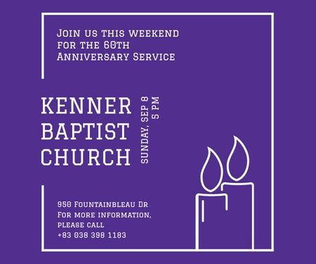 Plantilla de diseño de Kenner Baptist Church  Large Rectangle