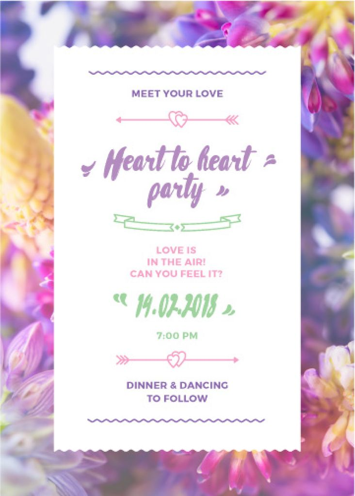 Party Invitation Purple Flowers — Crea un design