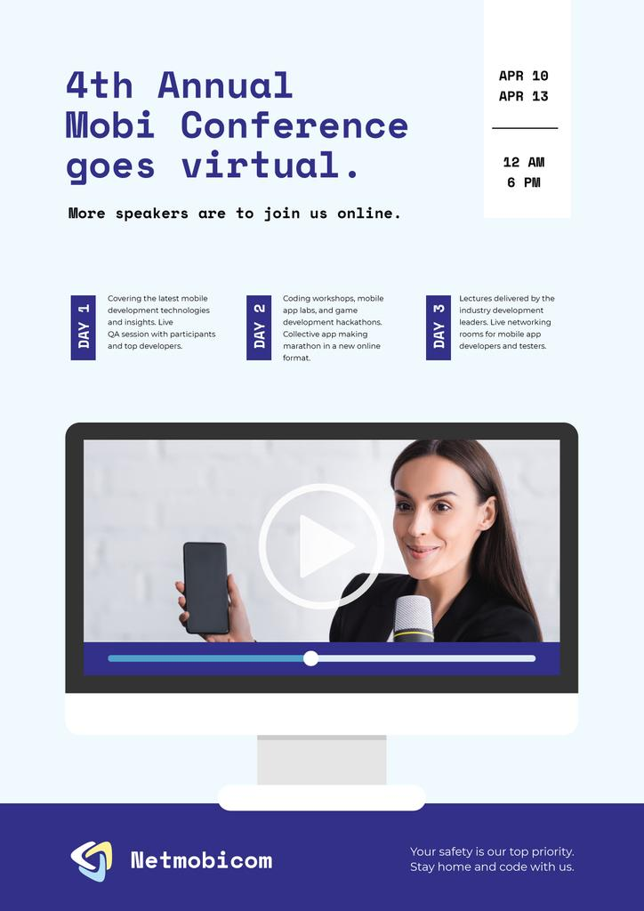 Online Conference announcement with Woman speaker —デザインを作成する