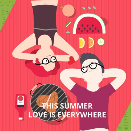 Couple in love lying on picnic blanket Animated Post Modelo de Design