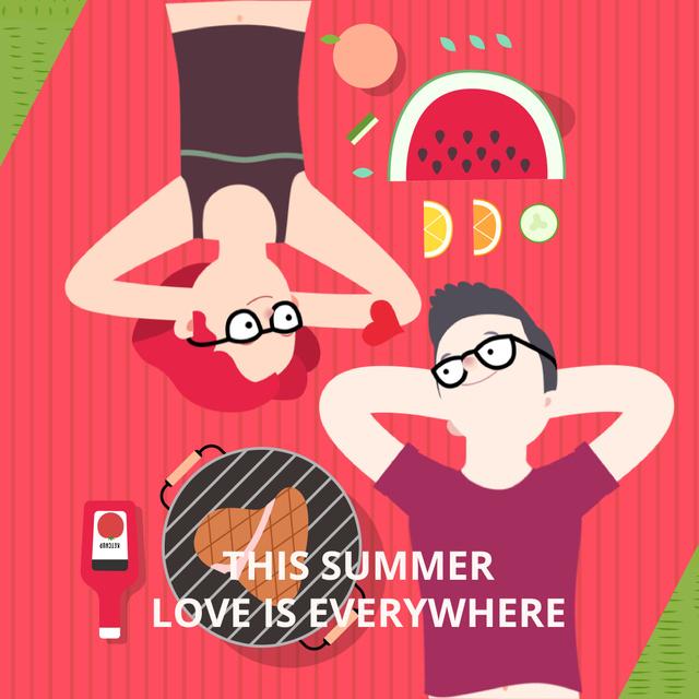 Plantilla de diseño de Couple in love lying on picnic blanket Animated Post