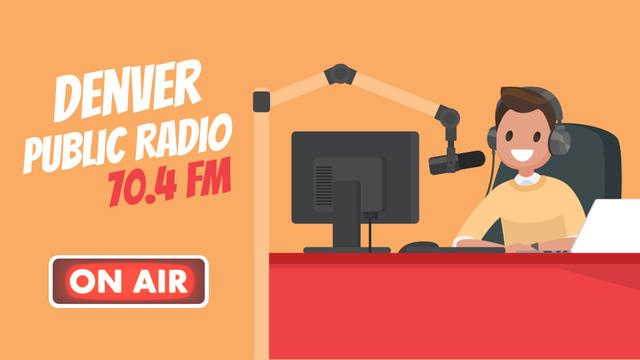 Radio host at radio show Full HD video – шаблон для дизайну