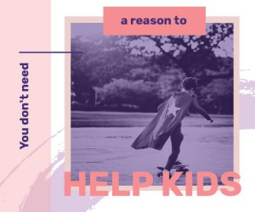 Help Quote Boy in Cape Riding Skateboard | Medium Rectangle Template