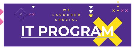 IT program promotion on Purple Facebook cover Modelo de Design