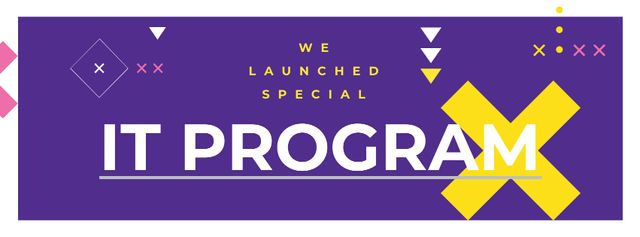 IT program promotion on Purple Facebook coverデザインテンプレート