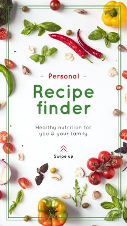 Template di design Recipe Frame with Fresh Vegetables on White Instagram Story