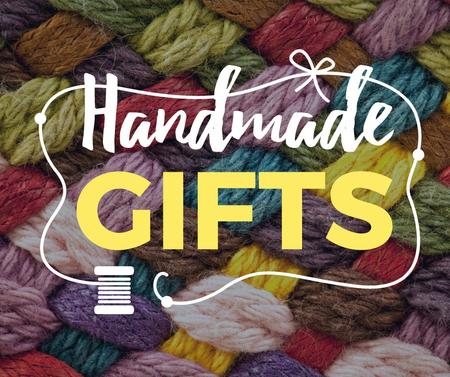 Handmade gifts offer on knitted piece Facebookデザインテンプレート