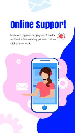 Online Customers Support Consultant on Phone Screen Instagram Video Story Modelo de Design