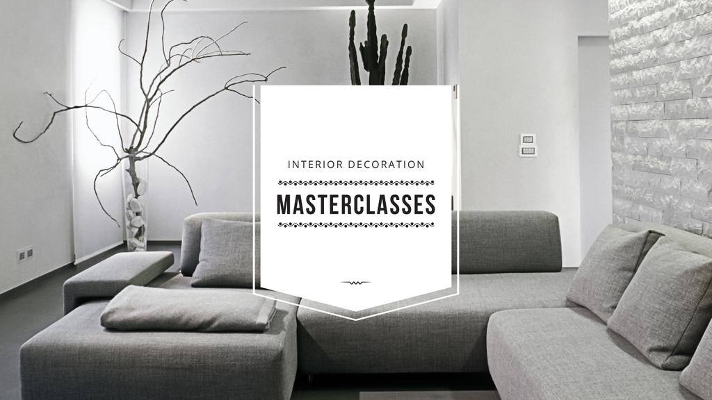 Interior Decoration Event Announcement Sofa in Grey | Youtube Channel Art — Crear un diseño