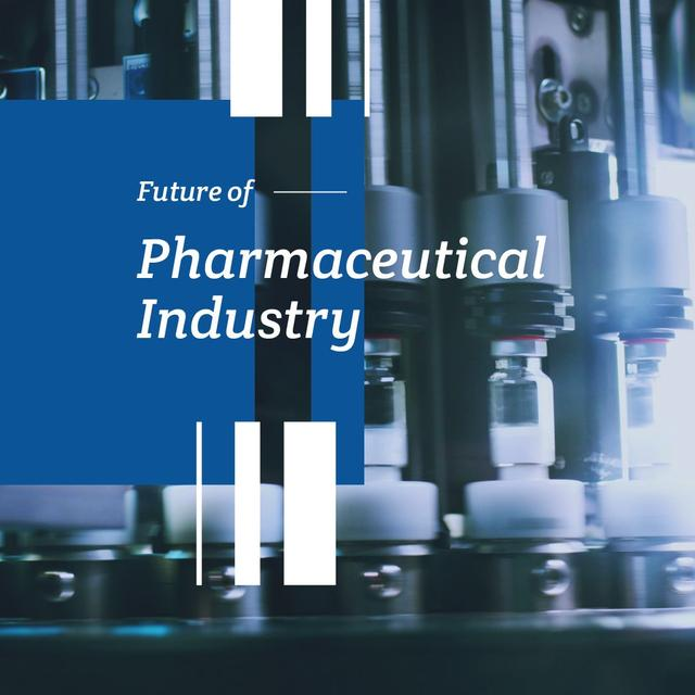 Ontwerpsjabloon van Animated Post van Pharmaceutical Industry with Medicine on production line