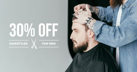 Szablon projektu Hairstyles workshop ad with client at Barbershop Facebook AD