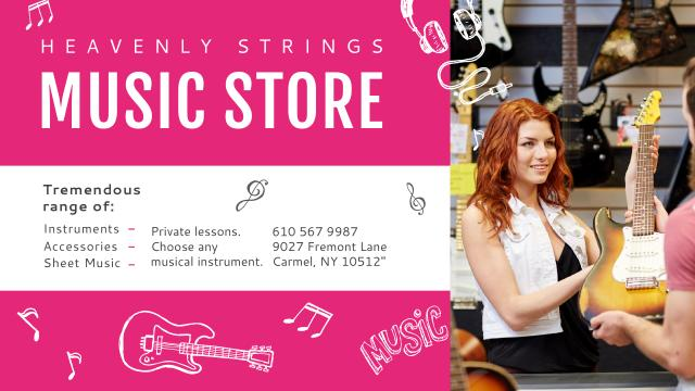 Music Store Offer with Female Consultant Youtube Tasarım Şablonu