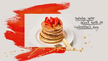 Valentine's Day Cafe Promotion Stack of Pancakes with Strawberries