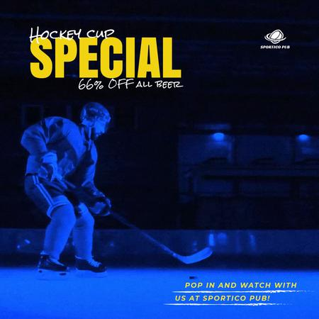 Plantilla de diseño de Hockey Match Offer with Player on Ice Animated Post