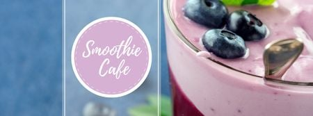Smoothie Cafe Advertisement Blueberries Drink Facebook cover Modelo de Design