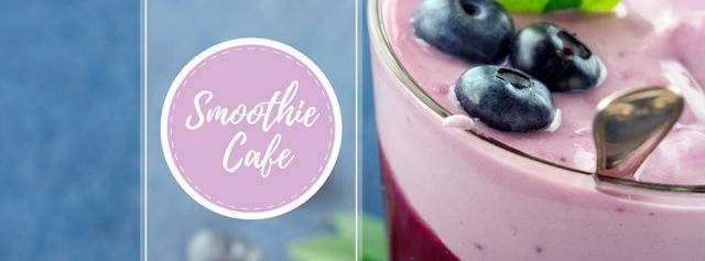 Plantilla de diseño de Smoothie Cafe Advertisement Blueberries Drink Facebook cover