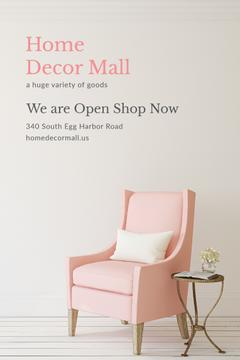 Furniture Shop Ad Pink Cozy Armchair | Pinterest Template