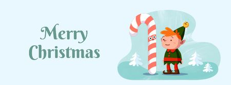 Ontwerpsjabloon van Facebook Video cover van Christmas elf with candy cane
