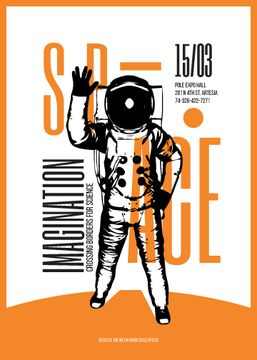 Space Theme Flyer with Astronaut Sketch in Orange Color