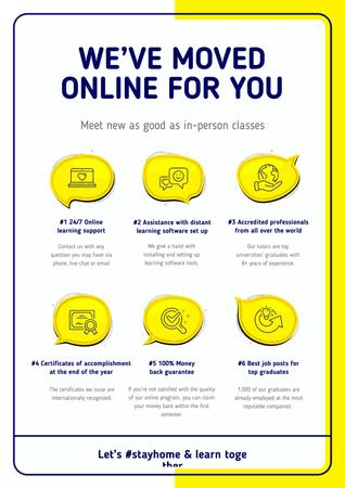 Template di design #StayHome Online Education Courses benefits Poster