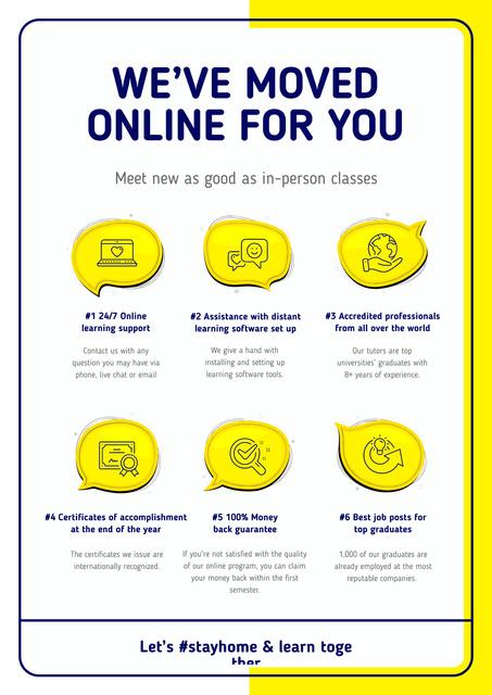 #StayHome Online Education Courses benefits Poster Modelo de Design