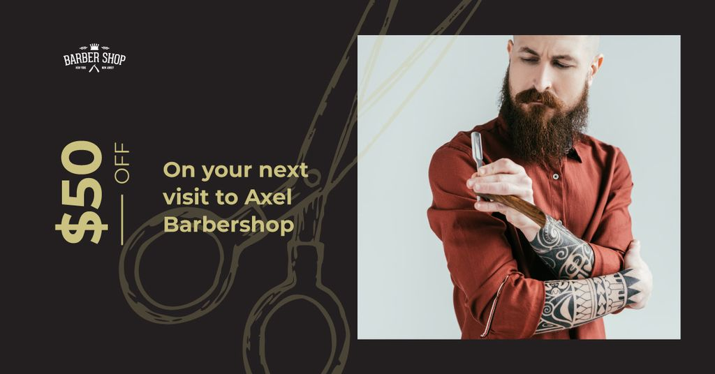Stylish barber with razor — Create a Design