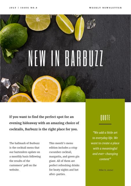 New Menu Annoucement with Fresh Lime Newsletter Design Template