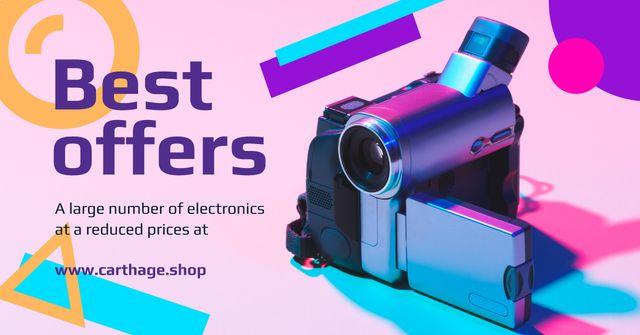Plantilla de diseño de Electronics Offer Video Camera in Blue Facebook AD
