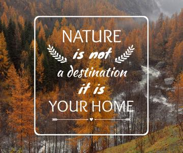 Nature Quote with Scenic Autumn forest
