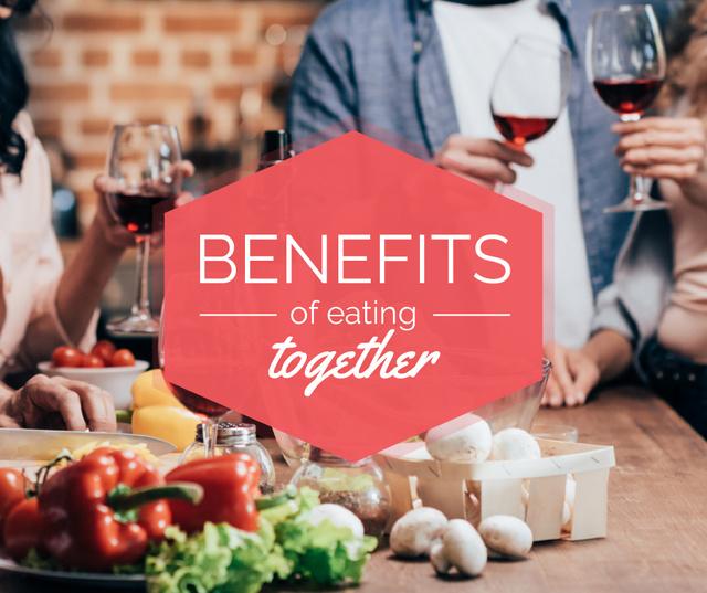 People Eating Dinner Together Facebook Design Template