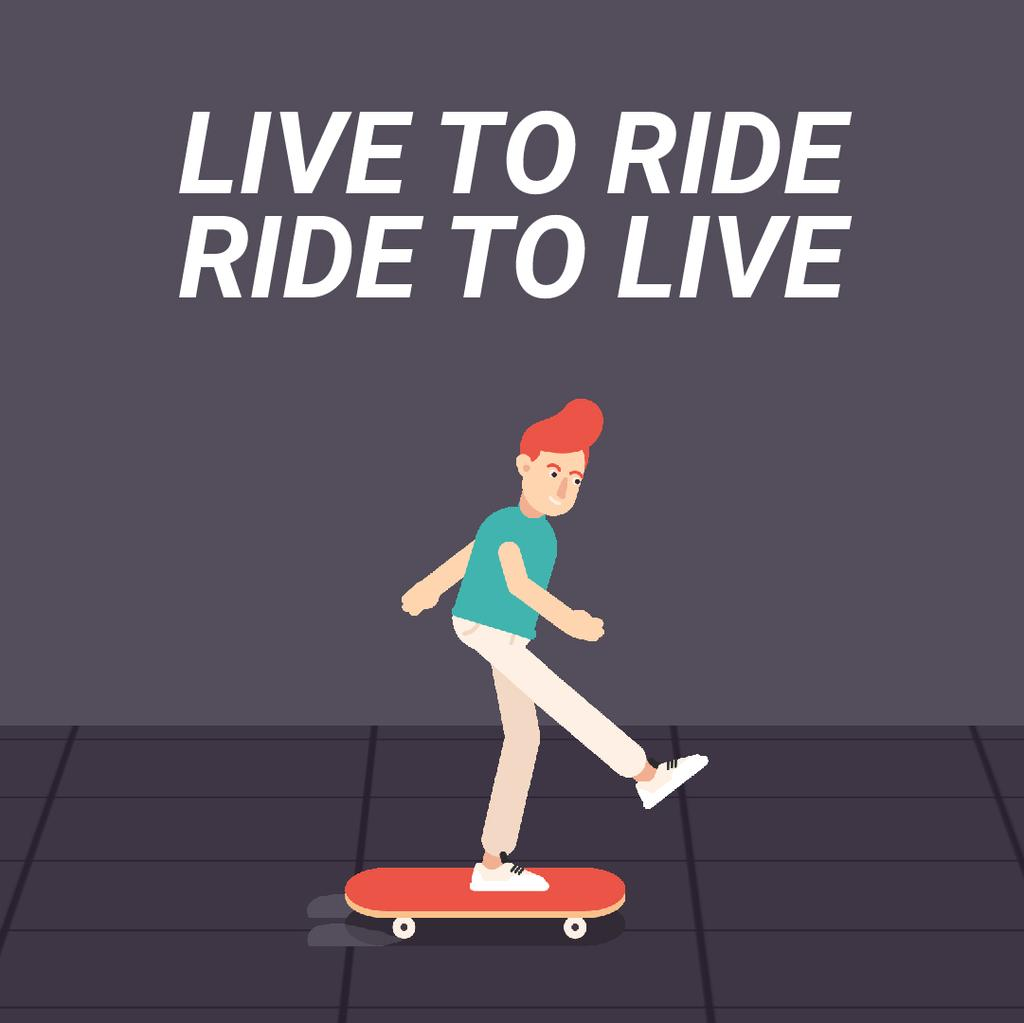 Inspirational Quote with Skater Riding on Street — Crear un diseño