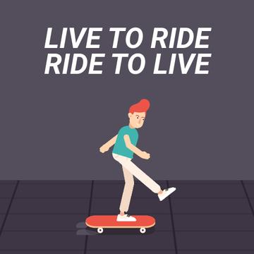 Inspirational Quote with Skater Riding on Street