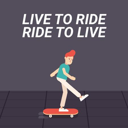 Modèle de visuel Inspirational Quote with Skater Riding on Street - Animated Post