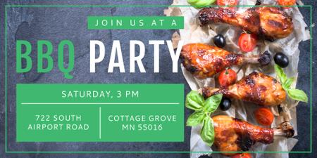 BBQ Party Invitation Grilled Chicken Image Modelo de Design