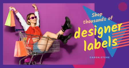 Template di design Fashion Sale with Girl In Shopping Cart Facebook AD