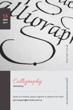 Plantilla de diseño de Calligraphy Workshop Announcement Decorative Letters Tumblr